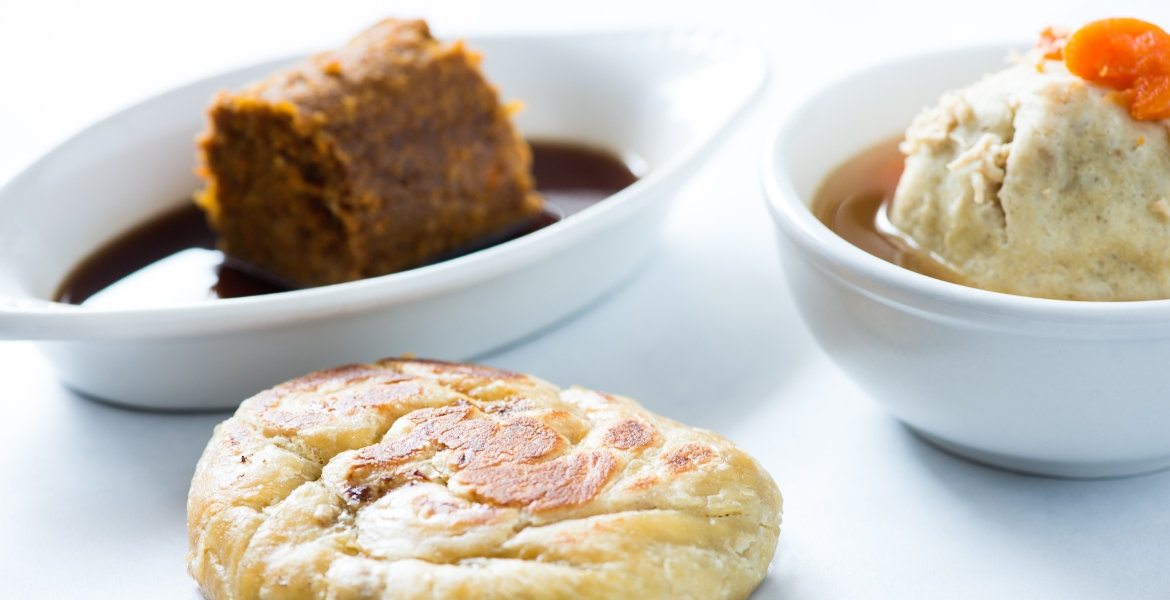 Knish, Kishke with Gravy & Matzo Ball Soup